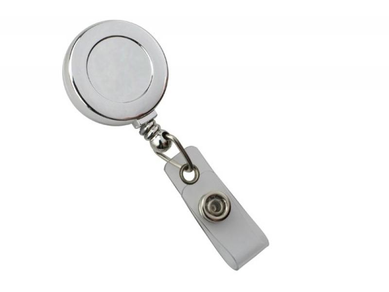 Brady 2120-3030 Chrome Solid Color Badge Reel with Clear Vinyl Strap and Belt Slide-On Clip