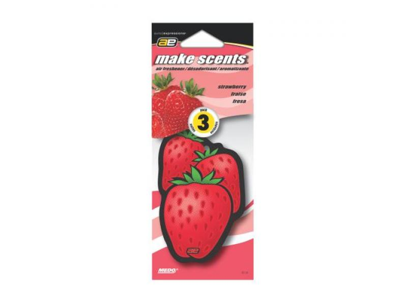 Auto Expressions Make Scents Paper: Strawberry Auto Air Freshener - 3 pk