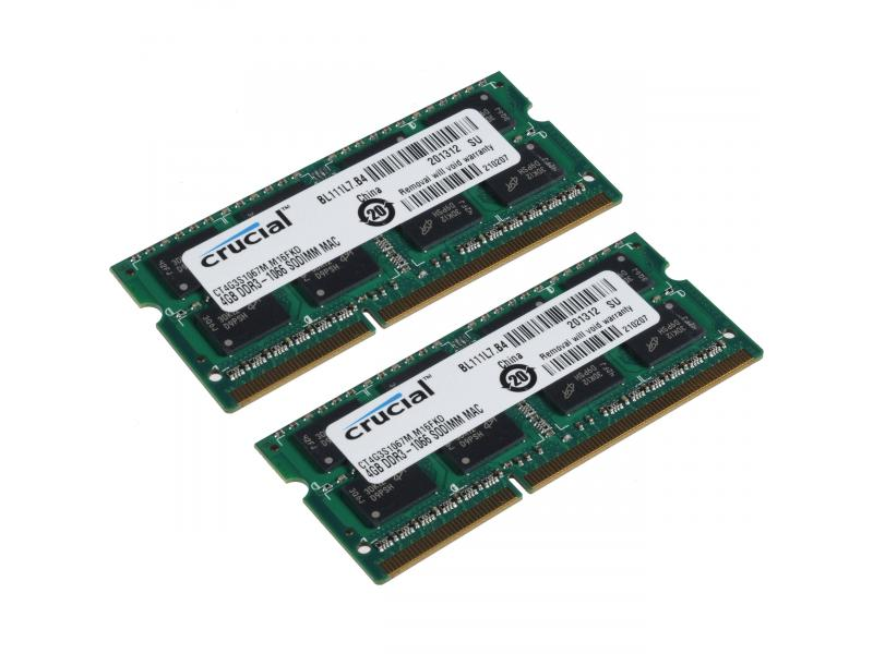 Crucial 8GB (2 x 4GB) DDR3 PC3-10600 (DDR3-1333MHz) 1.35V CL11 Laptop RAM SO-DIMM Memory